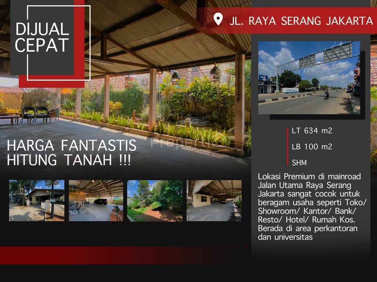 Lahan dan Bangunan Baru di Jl. Raya Serang - Jakarta, Banten