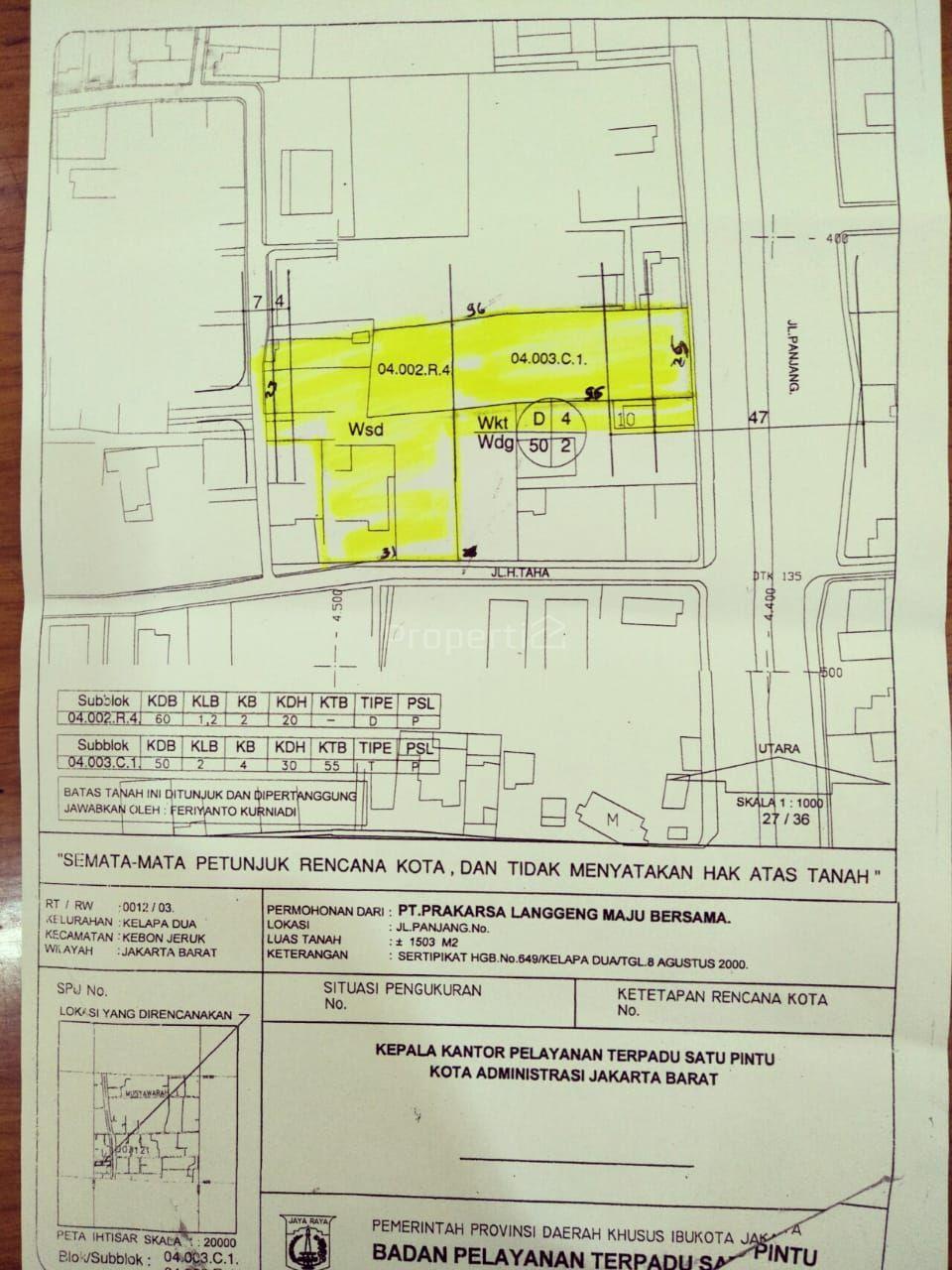 L-Shaped Commercial Land in Jalan Panjang Kebon Jeruk, Jakarta Barat