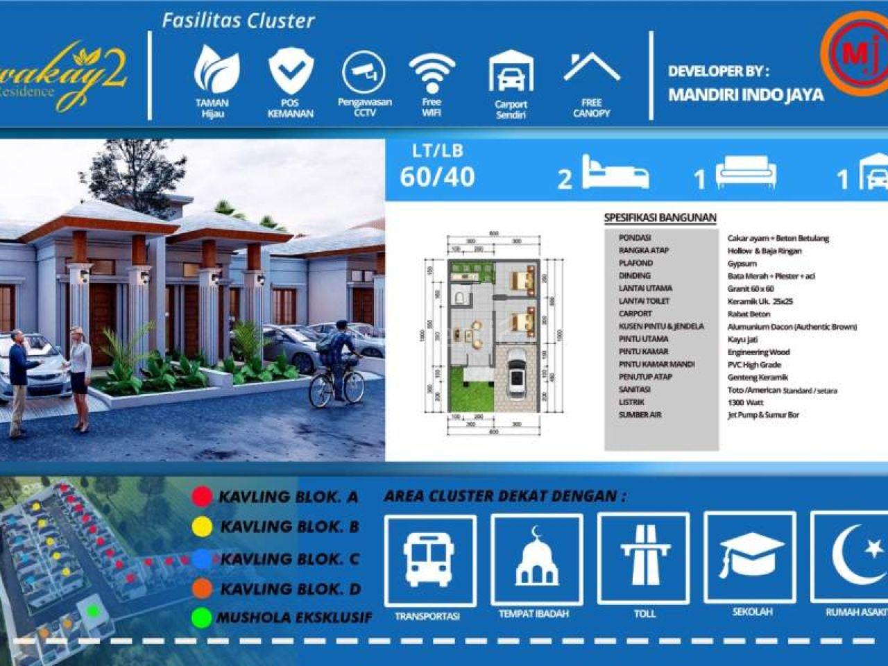 Rumah Baru di Wakay Residence 2, Jatisampurna, Kota Bekasi, Kota Bekasi