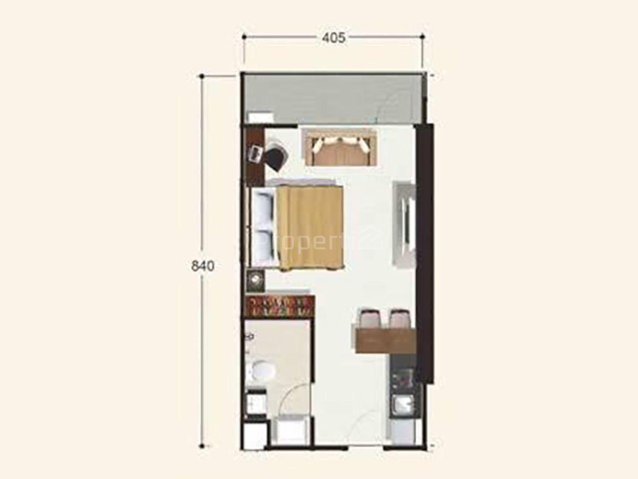 Studio Apartment Unit at Tamansari Tera Residence, 17th Floor, Kota Bandung